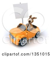 Clipart Of A 3d Kangaroo Holding A Blank Sign And Driving An Orange Convertible Car To The Left Royalty Free Illustration by Julos