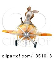 Clipart Of A 3d Kangaroo Aviator Pilot Giving A Thumb Up And Flying A Yellow Airplane Royalty Free Illustration by Julos
