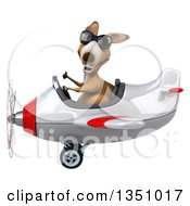 Clipart Of A 3d Kangaroo Aviator Pilot Wearing Sunglasses Giving A Thumb Up And Flying A White And Red Airplane To The Left Royalty Free Illustration by Julos