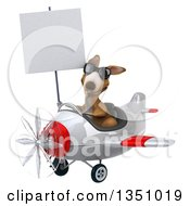 Clipart Of A 3d Kangaroo Aviator Pilot Wearing Sunglasses Holding A Blank Sign And Flying A White And Red Airplane To The Left Royalty Free Illustration by Julos