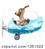 Clipart Of A 3d Kangaroo Aviator Pilot Flying A Blue Airplane To The Left Royalty Free Illustration by Julos