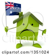 Clipart Of A 3d Unhappy Green Home Character Holding A Thumb Down And An Australian Flag Royalty Free Illustration