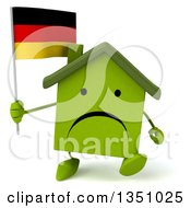Clipart Of A 3d Unhappy Green Home Character Holding A German Flag And Walking Royalty Free Illustration