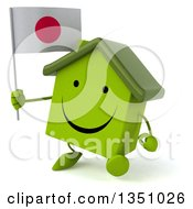 Clipart Of A 3d Happy Green Home Character Holding A Japanese Flag And Walking Royalty Free Illustration
