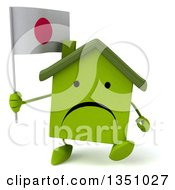 Clipart Of A 3d Unhappy Green Home Character Holding A Japanese Flag And Walking Royalty Free Illustration