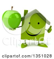 Clipart Of A 3d Happy Green Home Character Holding An Apple And Giving A Thumb Up Royalty Free Illustration