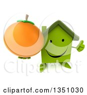 Clipart Of A 3d Happy Green Home Character Holding Up A Thumb And A Navel Orange Royalty Free Illustration by Julos