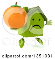 Clipart Of A 3d Unhappy Green Home Character Holding A Navel Orange And Jumping Royalty Free Illustration