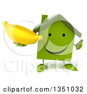 Clipart Of A 3d Happy Green Home Character Holding A Banana And Giving A Thumb Up Royalty Free Illustration