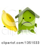Clipart Of A 3d Unhappy Green Home Character Holding Up A Banana Royalty Free Illustration