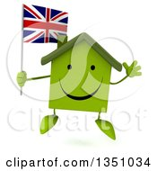 Clipart Of A 3d Happy Green Home Character Holding A British Union Jack Flag And Jumping Royalty Free Illustration