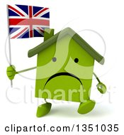 Clipart Of A 3d Unhappy Green Home Character Holding A British Union Jack Flag And Walking Royalty Free Illustration by Julos