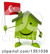 Clipart Of A 3d Happy Green Home Character Holding A Turkish Flag Royalty Free Illustration by Julos