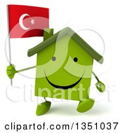 Clipart Of A 3d Happy Green Home Character Holding A Turkish Flag And Walking Royalty Free Illustration by Julos