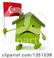 Clipart Of A 3d Unhappy Green Home Character Holding A Turkish Flag And Walking Royalty Free Illustration