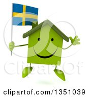 Clipart Of A 3d Happy Green Home Character Holding A Swedish Flag And Jumping Royalty Free Illustration by Julos