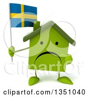 Clipart Of A 3d Unhappy Green Home Character Holding And Pointing To A Swedish Flag Royalty Free Illustration by Julos