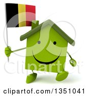 Clipart Of A 3d Happy Green Home Character Holding A Belgian Flag And Walking Royalty Free Illustration by Julos