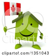 Clipart Of A 3d Happy Green Home Character Holding A Canadian Flag Royalty Free Illustration by Julos