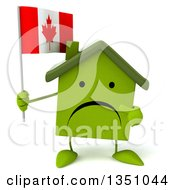 Clipart Of A 3d Unhappy Green Home Character Holding And Pointing To A Canadian Flag Royalty Free Illustration by Julos