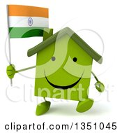 Clipart Of A 3d Happy Green Home Character Holding An Indian Flag And Walking Royalty Free Illustration