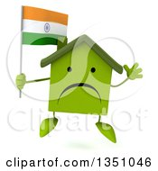 Clipart Of A 3d Unhappy Green Home Character Holding An Indian Flag And Jumping Royalty Free Illustration