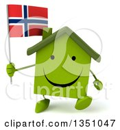 Clipart Of A 3d Happy Green Home Character Holding A Norwegian Flag And Walking Royalty Free Illustration by Julos