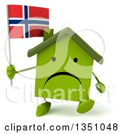 Clipart Of A 3d Unhappy Green Home Character Holding A Norwegian Flag And Walking Royalty Free Illustration by Julos