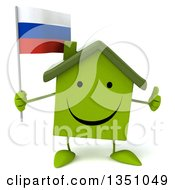 Clipart Of A 3d Happy Green Home Character Holding A Russian Flag And Giving A Thumb Up Royalty Free Illustration