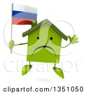 Clipart Of A 3d Unhappy Green Home Character Holding A Russian Flag And Jumping Royalty Free Illustration