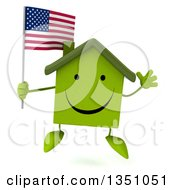 Clipart Of A 3d Happy Green Home Character Holding An American Flag And Jumping Royalty Free Illustration by Julos