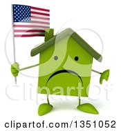 Clipart Of A 3d Unhappy Green Home Character Holding An American Flag And Giving A Thumb Down Royalty Free Illustration by Julos