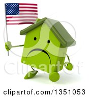 Clipart Of A 3d Unhappy Green Home Character Holding An American Flag And Walking Royalty Free Illustration by Julos