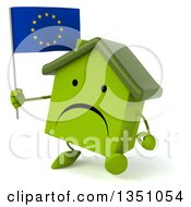 Clipart Of A 3d Unhappy Green Home Character Holding A European Flag And Walking Royalty Free Illustration by Julos