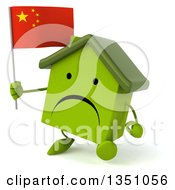 Clipart Of A 3d Unhappy Green Home Character Holding A Chinese Flag And Walking Royalty Free Illustration