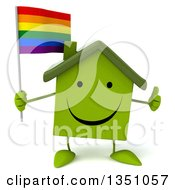 Clipart Of A 3d Happy Green Home Character Holding A Rainbow Flag And Giving A Thumb Up Royalty Free Illustration