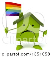Clipart Of A 3d Unhappy Green Home Character Holding A Rainbow Flag And Giving A Thumb Down Royalty Free Illustration