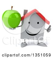 Clipart Of A 3d Happy White House Character Holding A Green Apple And Giving A Thumb Up Royalty Free Illustration