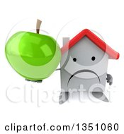 Clipart Of A 3d Unhappy White House Character Holding Up A Green Apple Royalty Free Illustration
