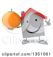 Clipart Of A 3d Happy White House Character Holding Up A Finger And A Navel Orange Royalty Free Illustration