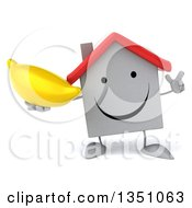Clipart Of A 3d Happy White House Character Holding Up A Finger And A Banana Royalty Free Illustration
