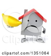 Clipart Of A 3d Unhappy White House Character Holding A Banana Royalty Free Illustration
