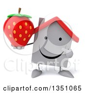 Clipart Of A 3d Happy White House Character Holding And Pointing To A Strawberry Royalty Free Illustration