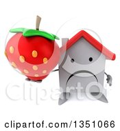 Clipart Of A 3d Unhappy White House Character Holding Up A Strawberry Royalty Free Illustration