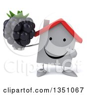 Clipart Of A 3d Happy White House Character Holding And Pointing To A Blackberry Royalty Free Illustration