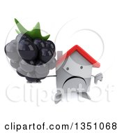 Clipart Of A 3d Unhappy White House Character Holding Up A Blackberry And Thumb Down Royalty Free Illustration