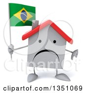 Clipart Of A 3d Unhappy White House Character Holding A Brazilian Flag And Giving A Thumb Down Royalty Free Illustration