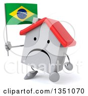 Clipart Of A 3d Unhappy White House Character Holding A Brazilian Flag And Walking Royalty Free Illustration