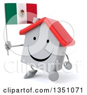 Clipart Of A 3d Happy White House Character Holding A Mexican Flag And Walking Royalty Free Illustration