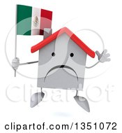 Clipart Of A 3d Unhappy White House Character Holding A Mexican Flag And Jumping Royalty Free Illustration